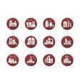 power plants and factories round flat icons vector image vector image
