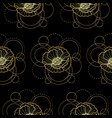 seamless pattern with gold poppy and circles on vector image vector image