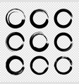 set grunge circle brush strokes for frames vector image