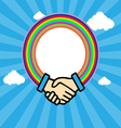 Shaking hands in outline with rainbow circle vector image