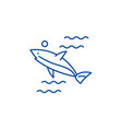 shark line icon concept shark flat symbol vector image vector image
