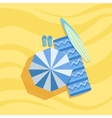 Surfboard Flip-Flops And Umbrella Spot On The vector image