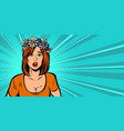 surprised alarmed woman in a wreath wild vector image