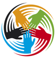 teamwork hands icon vector image vector image