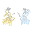 Two delicate vintage ladies in swirling attire vector image vector image