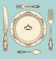 vintage cutlery and plate vector image vector image