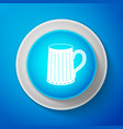 white wooden beer mug icon on blue background vector image vector image