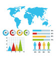 world map infographic demographic statistics vector image