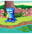 A monster crying at the riverbank vector image vector image