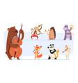 animals musicians wild cartoon zoo vector image vector image