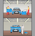 automobile painting and repairing colorful poster vector image vector image
