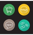 Bad habits flat linear icons set vector image