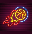 basketball ball fly and burn vector image