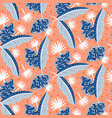 blue and red tropic island leaves pattern vector image vector image
