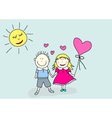 boy and girl valentines day vector image vector image