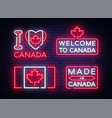 canada flag badges collection neon sign i vector image