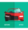 Car before after crashed broken and repaired vector image vector image