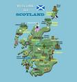 cartoon map scotland icons with scottish vector image