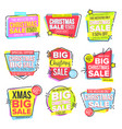 christmas big sale sticker set template vector image vector image