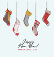 christmas gift stocking hanging advertising merry vector image vector image