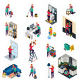 cleaning services isometric set vector image