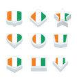 cote divoire flags icons and button set nine vector image vector image