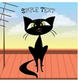 Cute black cat on the roof vector image vector image