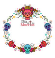 day of the dead skull frame vector image vector image