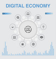 digital economy infographic with icons contains vector image vector image