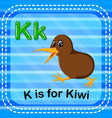 flashcard letter k is for kiwi vector image vector image