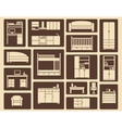 Flat furniture and interior icons vector image