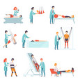 flat set of people doing rehabilitation vector image