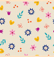 flowers hearts nature seamless pattern vector image vector image
