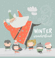 funny santa claus skating with cute kids vector image vector image