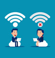 good and bad connection wireless technology vector image vector image