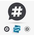 Hashtag speech bubble sign icon vector image vector image