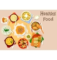 Healthy dishes with olives and cornichon icon vector image vector image