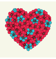 heart with flowers painted in graphic style retro vector image vector image
