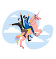 homosexual men riding on a unicorn rainbow colors vector image vector image