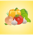 image of vegetables together on a yellow vector image vector image