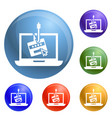 laptop phishing icons set vector image vector image