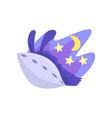 llama character sleeping in its bed at night cute vector image vector image