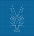lobster hand drawn sketch on blueprint background vector image