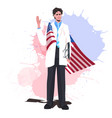 male doctor with usa flag waving hand labor day vector image vector image