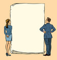 man and woman blank banner vector image vector image
