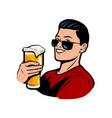 man with beer mug retro comic pop art vector image vector image