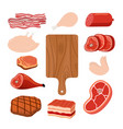 meat set cutting board cartoon flat style vector image