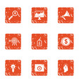 monetary objective icons set grunge style vector image