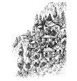 mountain village sketch vector image vector image