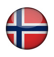 norway flag in glossy round button of icon norway vector image vector image